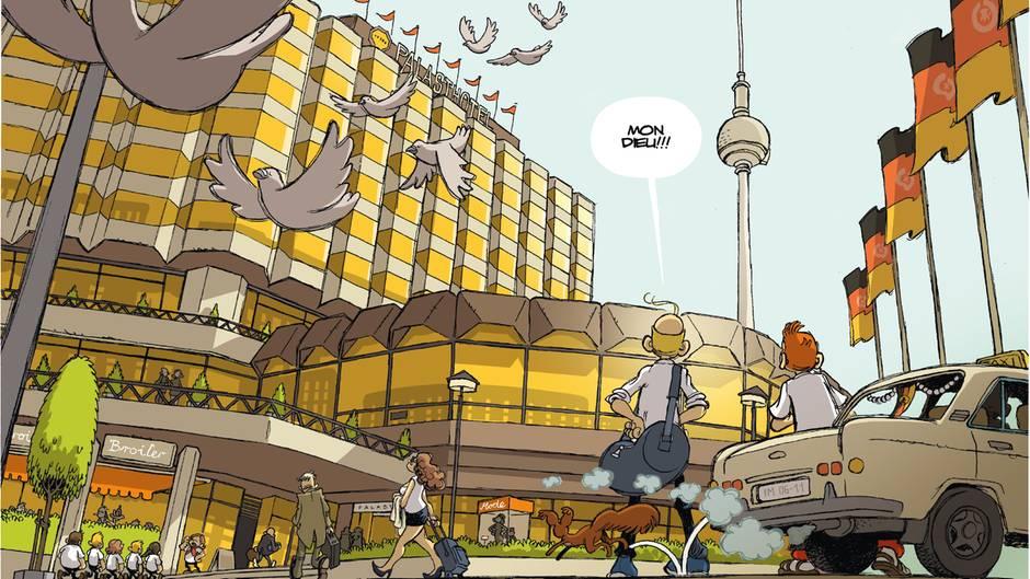 Spirou und Fantasio vor dem Palasthotel