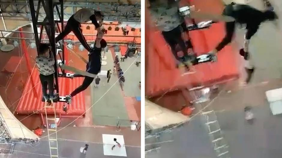 Ohne Sicherung: Zirkusartisten zeigen beeindruckende Akrobatik-Übung - in schwindelerregender Höhe