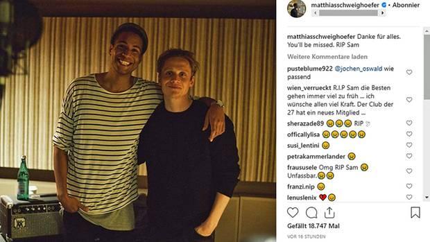 Matthias Schweighöfer äußerte sich bei Instagram zum plötzlichen Tod von Sam Wieland