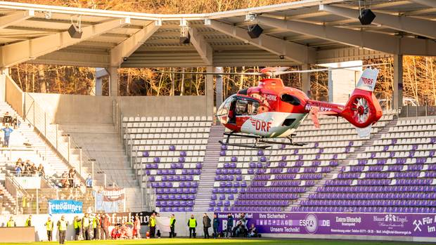 HSV fan is taken by helicopter to a clinic