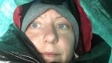 29.10.2018: Katharina Gröne (34)mitten im Schneesturm, irgendwo im amerikanischen Kaskadengebirge.