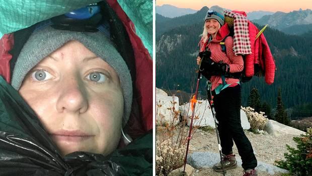 Katharina Gröne (34) unterwegs auf dem Pacific Crest Trail. Ein Bild von sich selbst (links) machte sie noch, als sie - im Schneesturm allein - die Hoffnung auf Rettung fast aufgegeben hatte.