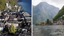 Eine Collage zeigt ein Bild einer Altstadt und einen See mit einer alten Kirche am anderen Ufer.