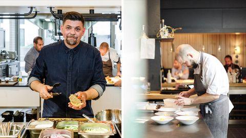 """Tim Mälzer ist erstmalig im """"Gault&Millau"""" mit seinem Hamburger Restaurant """"Gute Botschaft"""" vertreten. Micha Schäfer, Küchenchef im Berliner """"Nobelhart&Schmutzig"""", bereits zum erneuten Mal."""