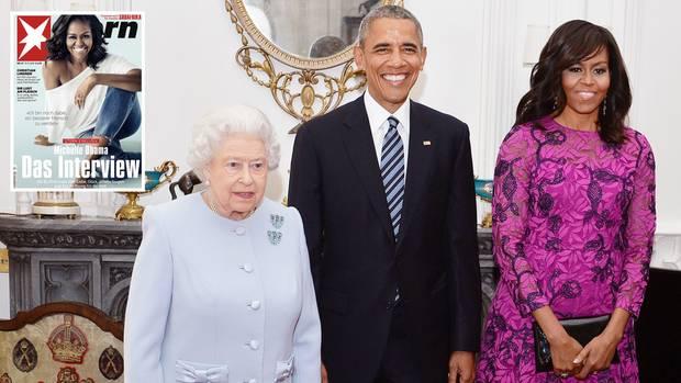 Queen Elizabeth II. (l.), Barack Obama, Michelle Obama