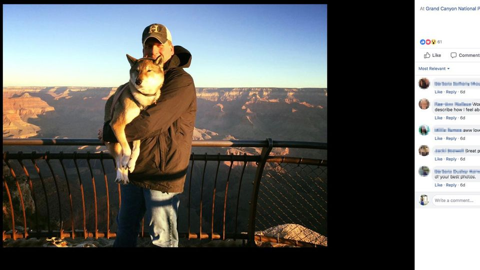 Paul Heroux mit Hündin Mura am Grand Canyon