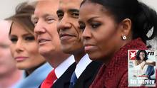 Michelle Obamamit Ehemann Barackbei der Amtseinführung von Donald Trump im Januar 2017in Washington