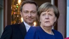 Christian Lindner und Angela Merkel Ende Oktober 2017 bei den Verhandlungen zu einer Jamaika-Regierung. Später ließ Lindner die Gespräche zwischen seiner FDP, den Grünen und der Union platzen.
