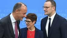Friedrich Merz, CDU-Generalsekretärin Annegret Kramp-Karrenbauer und Gesundheitsminister Jens Spahn