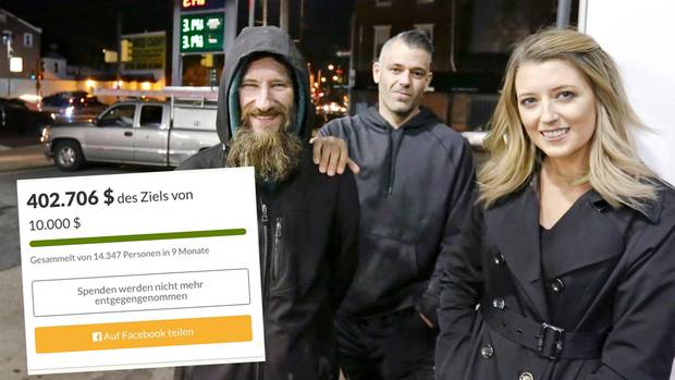 Durch eineSpendenaktion wurden für den ObdachlosenJohnny Bobbitt (l.) 400.000 Dollar gesammelt.