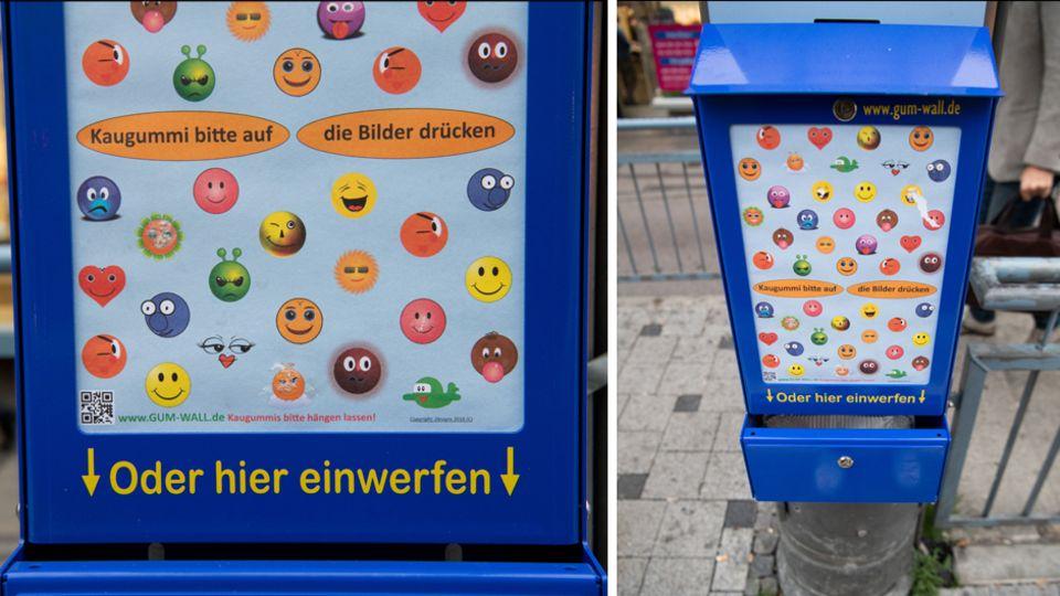 Gum-Wall in Stuttgart an einer Haltestelle um Kaugummimüll zu reduzieren