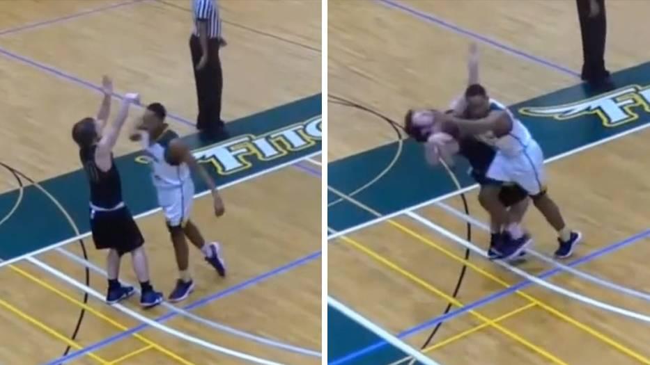 Uni-Basketball: Brutalo-Foul: Student fliegt nach diesem Ellenbogen-Kick aus dem Team