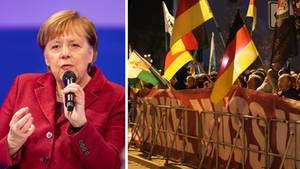 Bundeskanzlerin Angela Merkel, Demonstranten in Chemnitz