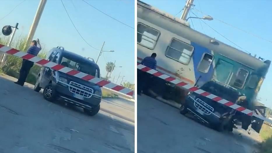 Sizilien: Italiener parkt hinter der Schienenschranke – da hilft auch kein Winken mehr
