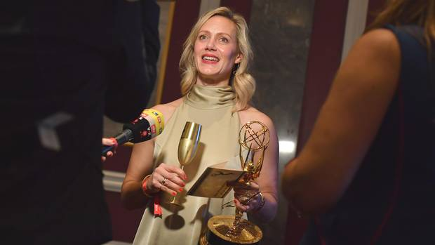 Strahlende Siegerin: Anna Schudt nach der Verleihung der 46. International Emmy Awards in New York