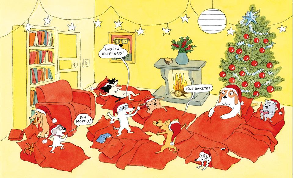Neun Hunde mit Weihnachtsmützen haben ein Matratzenlager unter den Weihnachtsbaum gebildet