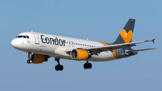 Ein Maschine der Ferienfluggesellschaft Condor vom Typ Airbus A320