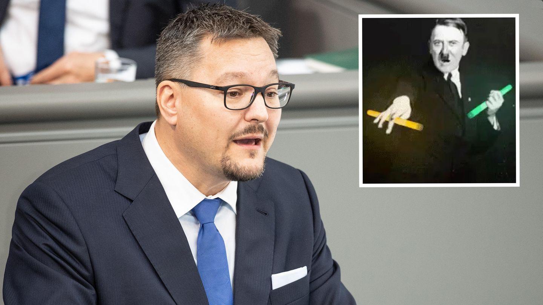 AfD-Abgeordnete Stefan Keuter und ein tanzender Adolf Hitler