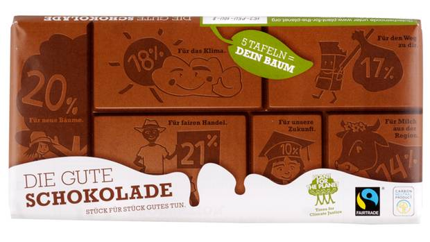 Testsieger: Die gute Schokolade    Von: Plant-for-the-Planet  Preis pro 100 Gramm: 1,00 Euro  Tafelpreis:  1,00 Euro für 100 Gramm  Kakaoanteil (min.): 31 %    Sensorisches Urteil:  Die Schokolade ist hellbraun mit glatter Oberfläche und einer leicht rauen Bruchkante. Geruch und Geschmack sind komplex und intensiv sahnig. Geruch sehr nussig, karamellig, vanillig. Sehr süß. Cremig und schnell schmelzend.    Gesamturteil: Sehr gut (1,9)