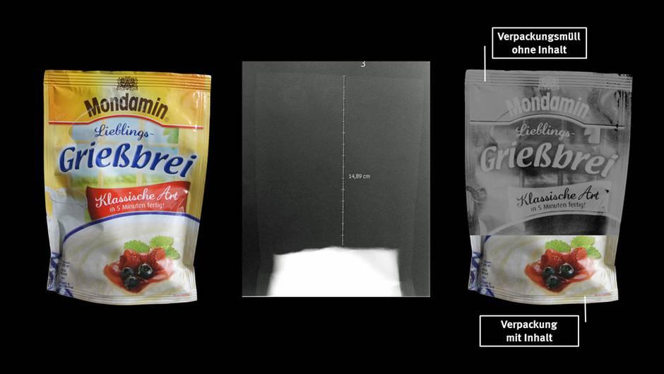 Die größte Luftnummer:Mit 83 Prozent Luft in der Packung schneidet das Grießbrei-Pulver von Mondamin in der Stichprobe der Verbraucherzentrale am schlechtesten ab. Muss das sein? Auf eine Bitte des stern um Stellungnahme reagierte Hersteller Unilever bislang nicht.