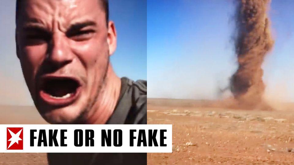 Collage: Mann, Tornado