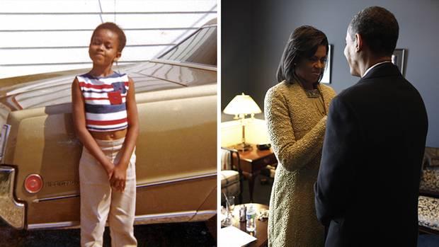 Michelle als Kind und mit Mann