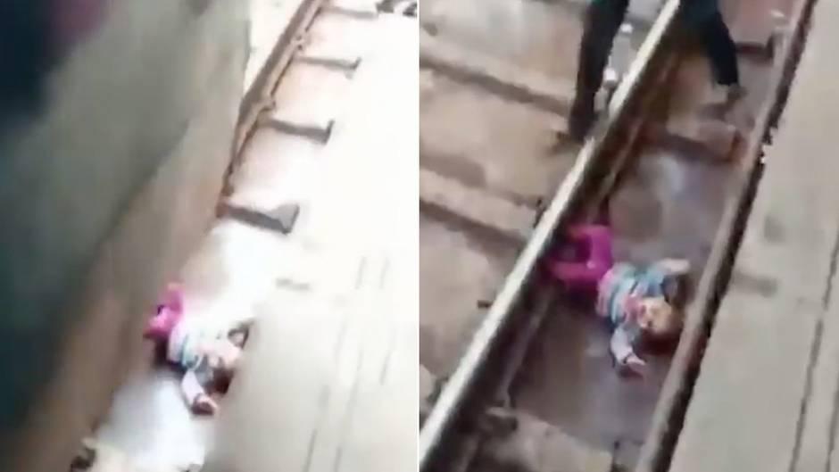 Indien: Schreckmoment für Eltern: Baby fällt auf Gleis vor hereinfahrenden Zug