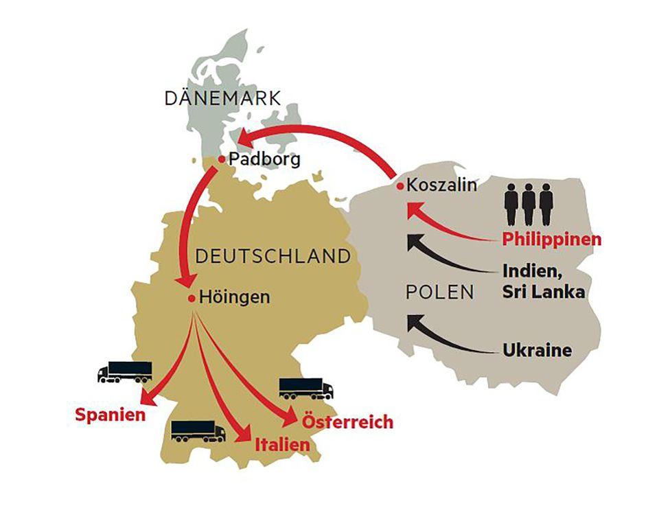Wie sich Spediteure billig Trucker besorgen  Die dänische Firma Kurt Beier holt Fahrer von außerhalb der EU nach Polen. Sie lässt sie mit polnischen Verträgen und Lkws quer durch Europa fahren, oft von Deutschland aus. Der Weg über Polen wird beliebter: 2013 kamen 5000 Fahrer aus Nicht-EU-Staaten, 2017 waren es 65.000, im ersten Halbjahr 2018 schon 53.000.