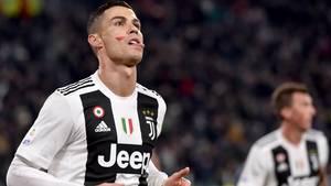 Ronaldo mit rotem Fleck auf der Wange