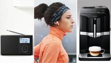 Eine Collage von drei Bildern, die ein Radio, eine Frau mit Bluetooth-Kopfhörern und eine Kaffeemaschine zeigt.