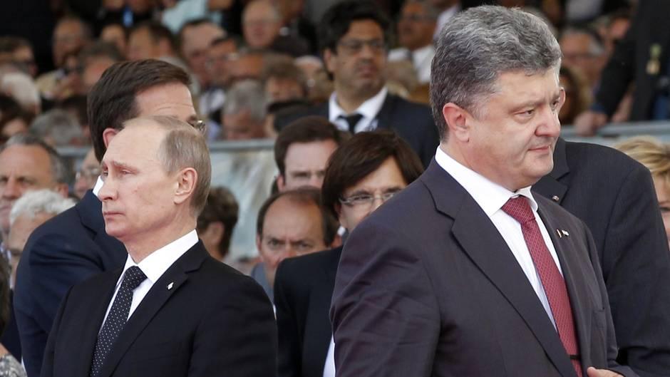 Wladimir Putin und Petro Poroschenko bei den Feierlichkeiten zum70. Jahrestages des D-Day in Ouistreham (Westfrankreich).
