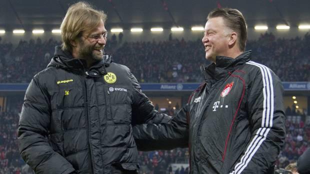 BVB-Coach Jürgen Klopp und sein FCB-Kollege Louis van Gaal 2011