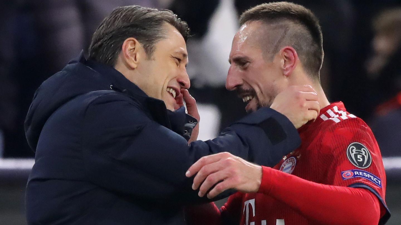 Niko Kovac und Franck Ribery beim klaren Sieg über Benfica Lissabon in der Champions League