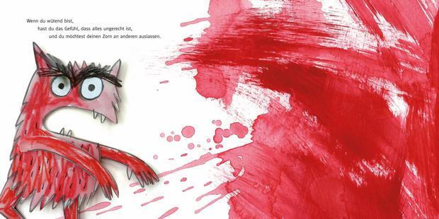 Das Monster ist wütend, die Buchseite ist voller Rot