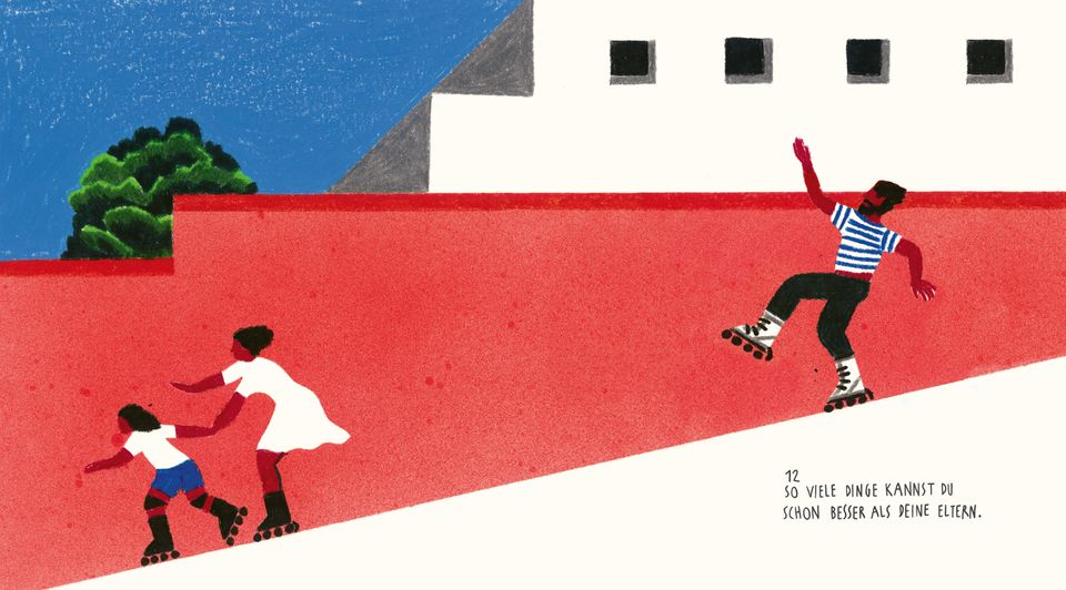 Ein Kind läuft besser Rollschuh als seine Eltern