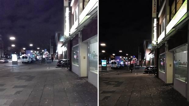 Während das Motorola One (links) bei Tageslicht gute Fotos macht, sind die Ergebnisse bei Nacht leider nicht besonders ansehnlich. Das Nokia 7.1 (rechts) liefert auch dann passable, wenn auch nicht gute Bilder