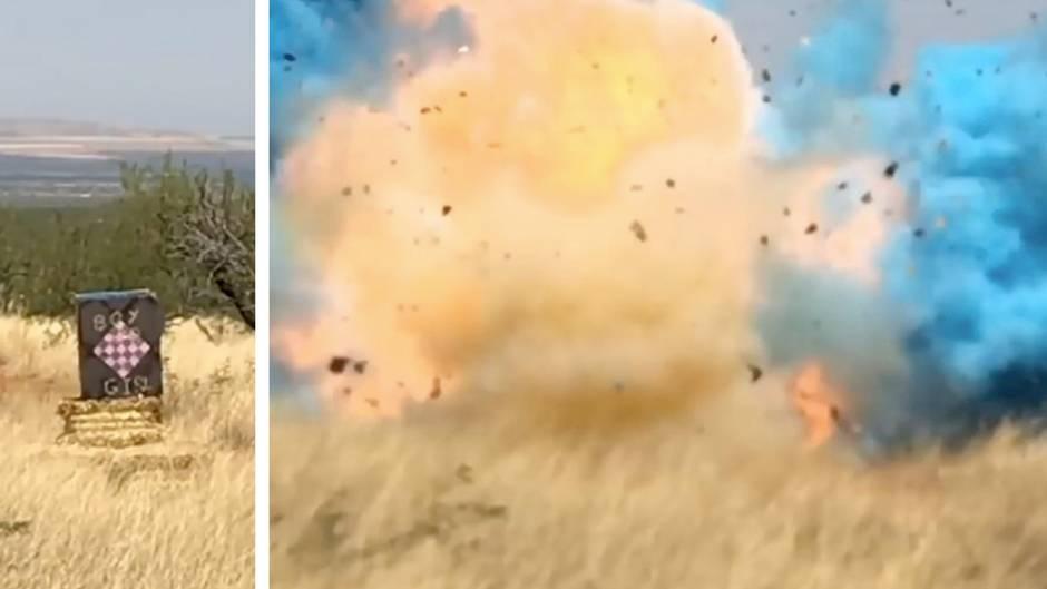 Gewaltige Explosion in blau: Junge oder ein Mädchen? Mann will es allen zeigen – und verwüstet einen ganzen Landstrich
