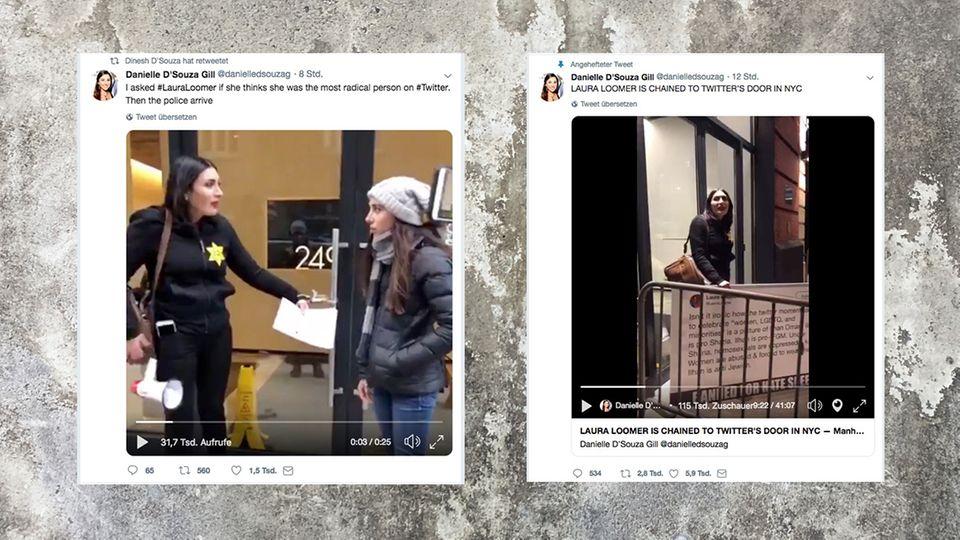 Laura Loomer kettete sich an die Tür des Twitter-Gebäudes in New York