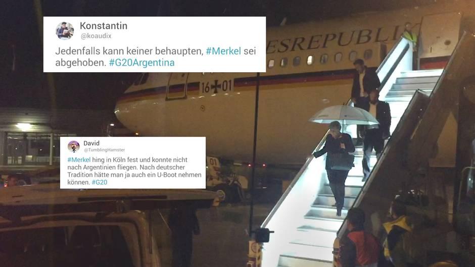 """Auf dem Weg zum G20-Gipfel: """"Gehört der Regierungsflieger zur Deutschen Bahn?"""" - das Netz amüsiert sich über Merkels Pannenflug"""