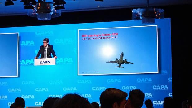 Wirbt für Berlin und den BER: Der Chef der Berliner Flughäfen Engelbert Lütke Daldrup bei seiner Präsentation auf demWorld Aviation Outlook Summit.