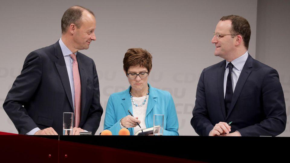 Friedrich Merz, Annegret Kramp-Karrenbauer und Jens Spahn