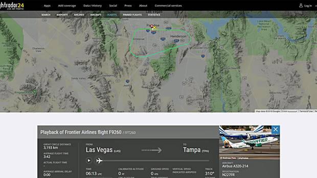 Der 13-minütige Flug des Airbus A320 von FrontierAirlines bei Las Vegas am Freitagmorgen