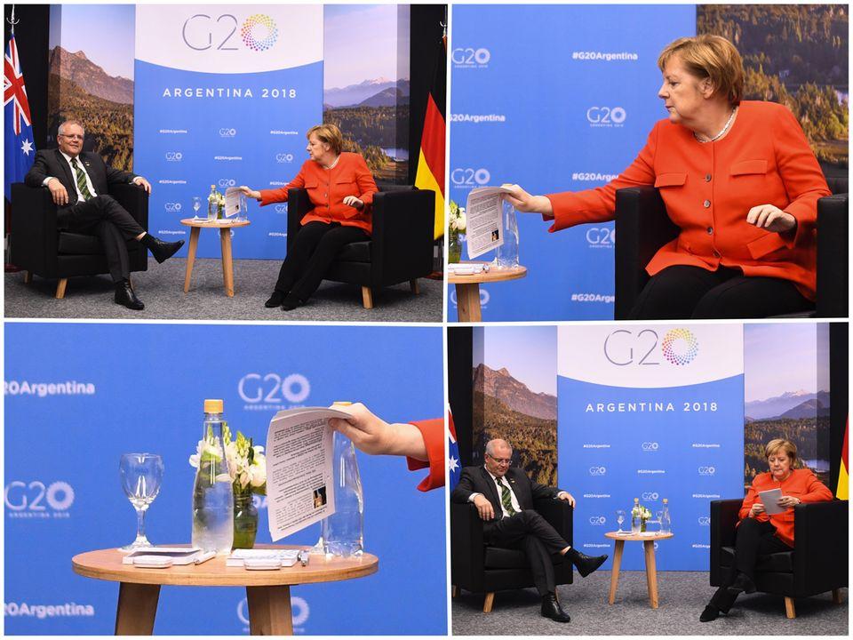 Auf den Notizen von Angela Merkel ist deutlich ein Bild von Scott Morrison zu erkennen
