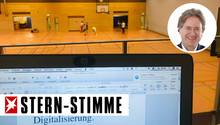 Basketballhalle statt Büro: Von seinem mobilen Arbeitsplatz hat Frank Behrendt sowohl Sohn als auch Arbeit im Blick.