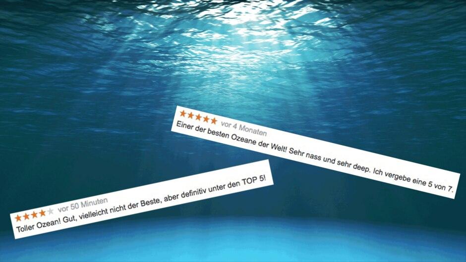 Ozean-Bewertungen auf Google, Hintergrund Ozean