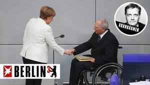 Auf Konfrontationskurs: Vor dem CDU-Parteitag spricht Schäuble Merz die Unterstützung zu