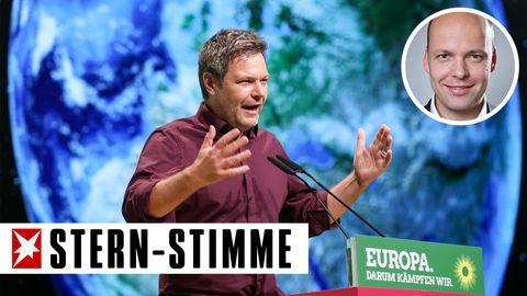 Robert Habeck, Bundesvorsitzender der Grünen, beim Parteitag in Leipzig