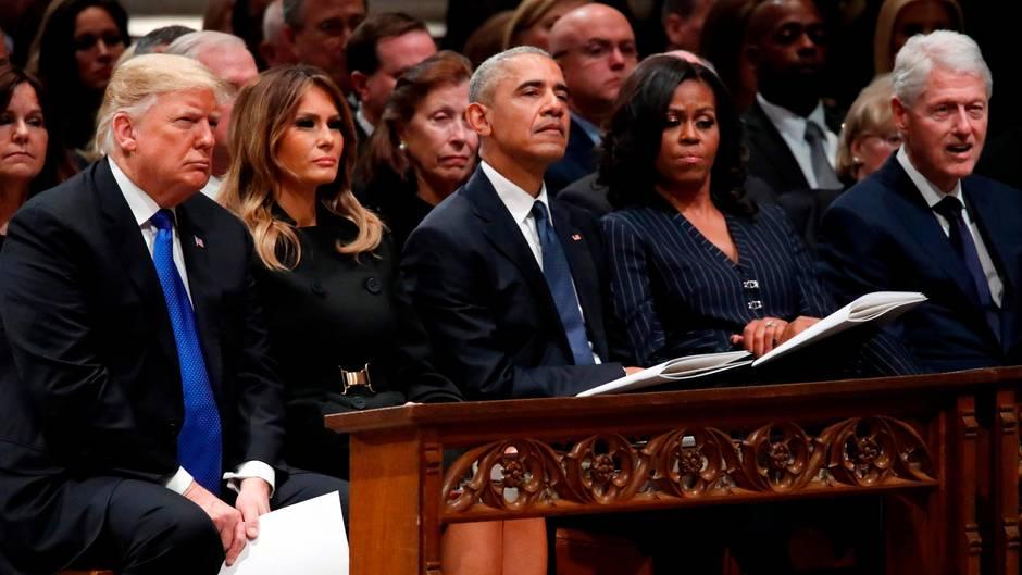 Trauerfeier George H.W. Bush: Eiseskälte bei Wiedersehen der Präsidenten – diese Tweets könnten etwas damit zu tun haben