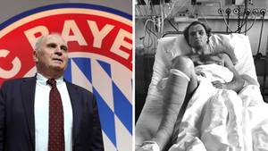 Links steht Uli Hoeneß im Anzug vor einem großen FC Bayern-Wappen, rechts liegt er als jüngerer Mann im Krankenhausbett