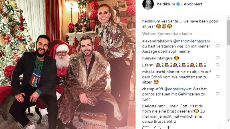Heidi Klum mit Tom Kaulitz und Bill Kaulitz